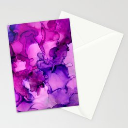 Achieve Grapeness-Pink and Purple Abstract Painting Stationery Cards