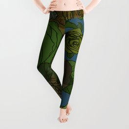Roses Illustration in Green and Blue Leggings