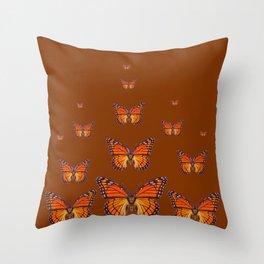 ORANGE MONARCH BUTTERFLIES COFFEE BROWN Throw Pillow