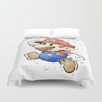 mario Duvet Covers featuring Mario Watercolor by Olechka