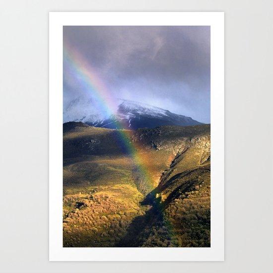 """Rainbow through the snow mountains"". Into the storm. Art Print"