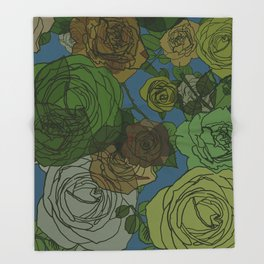 Roses Illustration in Green and Blue Throw Blanket