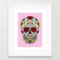 sugar skull Framed Art Prints featuring Sugar Skull by Jade Boylan