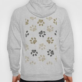 Doodle grey and gold paw print seamless fabric design repeated pattern background Hoody