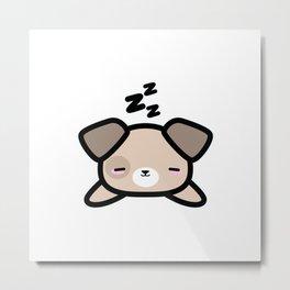 Cute Sleeping Dog Kawaii Style Metal Print