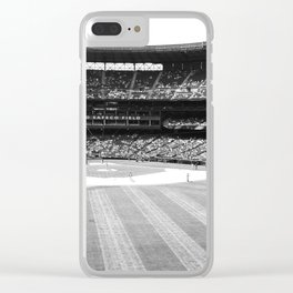 Safeco Field in Seattle Washington - Mariners baseball stadium in black and white Clear iPhone Case