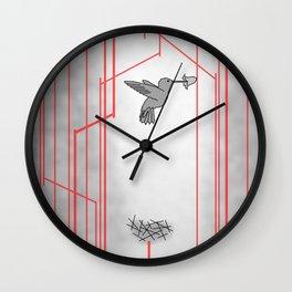 Hummingbird in the woods Wall Clock