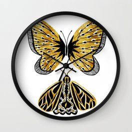 Golden Butterfly & Moth Wall Clock
