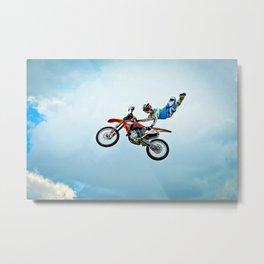 Motocross Stunt Super Seat Grab Metal Print