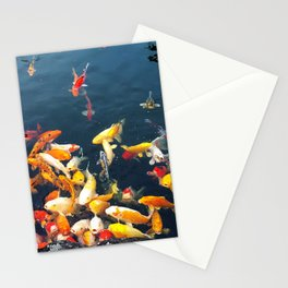 Colorful carp in the pond Stationery Cards