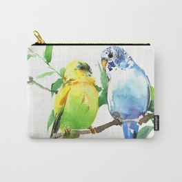 Budgies, Animal art, love, two birds bird artwork, bird pet Carry-All Pouch