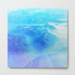 Blue cold mountains sky view Metal Print
