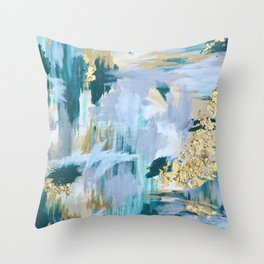 Bright Teal and Gold Leaf Abstract Pattern Throw Pillow