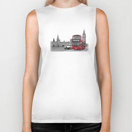 Black and White London with Red Bus Biker Tank
