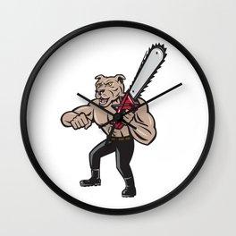 Dog Lumberjack Tree Surgeon Arborist Chainsaw Cartoon Wall Clock