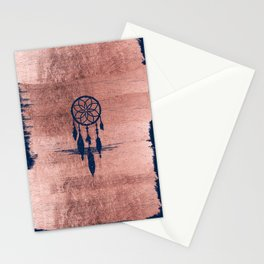 Modern navy blue faux rose gold dreamcatcher Stationery Cards
