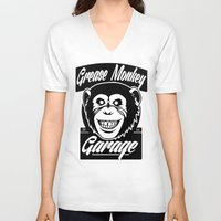 grease V-neck T-shirts featuring Grease Monkey Garage by Broenner