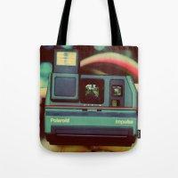 polaroid Tote Bags featuring polaroid by Angela Mia Photography