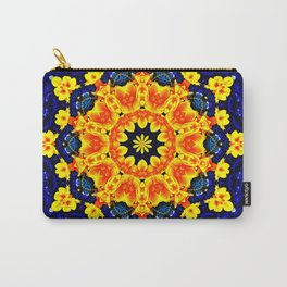Yellow Orange Floral Madala  Background Dark Blue Carry-All Pouch