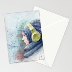 girl watercolor Stationery Cards
