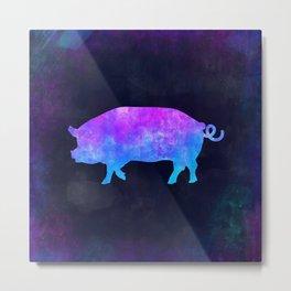 PIG IN SPACE // Animal Graphic Art // Watercolor Canvas Painting // Modern Minimal Cute Metal Print