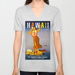 Hawaii by Clipper Travel Poster Unisex V-Neck