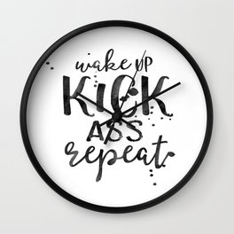 Wake Up Kick Ass Print, Print Quote, Wall Art, Art Print, Typography Poster, Scandinavian Art Wall Clock