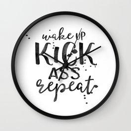 Wake Up Kick Ass Print, Print Quote, Wall Art, Art Print, Typography Poster, Scandinavian Art Wall Clock