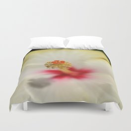 Close Up of Stamen And Pollen Yellow Hibiscus  Duvet Cover