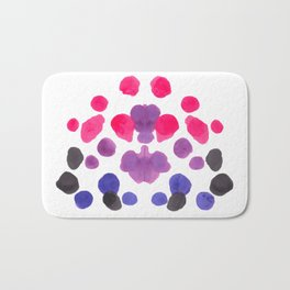 Rorschach Inkblot Diagram Psychology Abstract Symmetry Colorful Watercolor Art Pink Purple Blue Red Bath Mat
