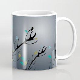 Nightingale singing in the night sky under the moonlight Coffee Mug