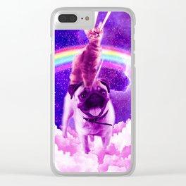 Cosmic Cat Riding Unicorn Pug Clear iPhone Case