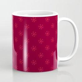 Crimson Red on Burgundy Red Snowflakes Coffee Mug