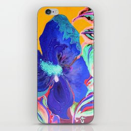 Birthday Acrylic Blue Orange Hibiscus Flower Painting with Red and Green Leaves iPhone Skin