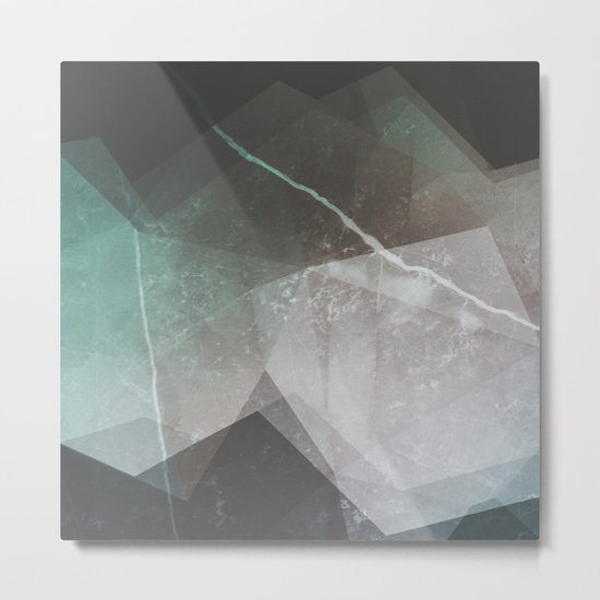 Marble Teal Layers Metal Print