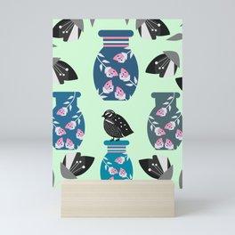 Quail, flowers and vases Mini Art Print
