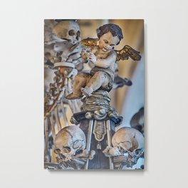 Sedlec Ossuary Cherub Photo Art, Skull Bone Church Metal Print