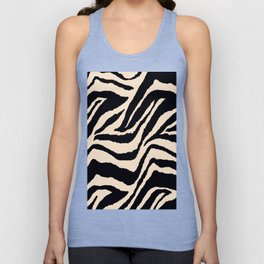 Zebra Animal Print Black and off White Pattern Unisex Tank Top