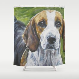 English Foxhound dog art portrait from an original painting by L.A.Shepard Shower Curtain
