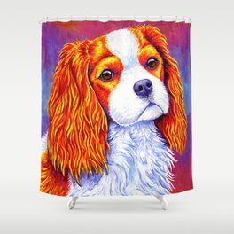 Colorful Cavalier King Charles Spaniel Shower Curtain