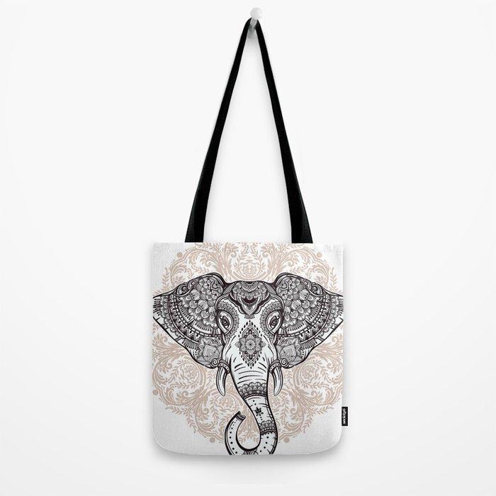 Elephant on Mandala Tote Bag
