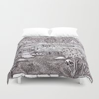 vermont Duvet Covers featuring Zentangle Vermont Mountain Pond by Vermont Greetings