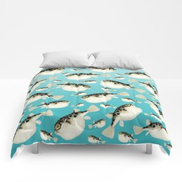 Puffer Fish watercolor Pattern Teal Comforters
