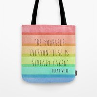 oscar wilde Tote Bags featuring Be Yourself: Oscar Wilde by Fifi Le Bon