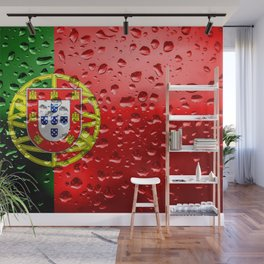 Flag of Portugal - Raindrops Wall Mural