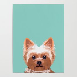 Yorkshire Terrier dog portrait pink cute art gifts for yorkie dog breed lovers Poster
