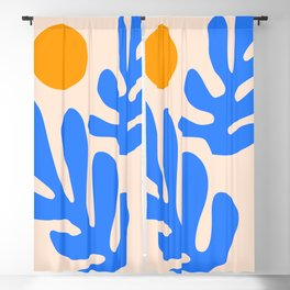 Henri Matisse - Leaves - Blue Blackout Curtain