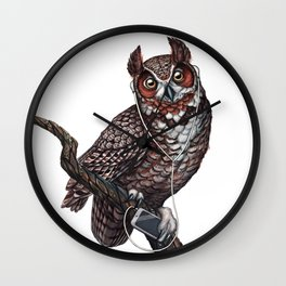 Great Horned Owl with Headphones Wall Clock