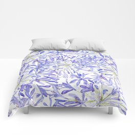 blue purple African lily watercolor painting Comforters