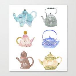Waterclor Teapot Collection Canvas Print